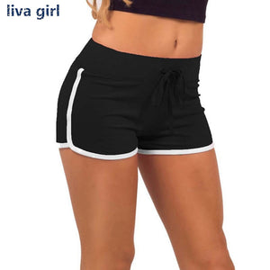 Yo-Ga Drawstring Shorts Women Casual Loose Cotton Contrast BindingSide Split Elastic Waist Short pants-lilugal