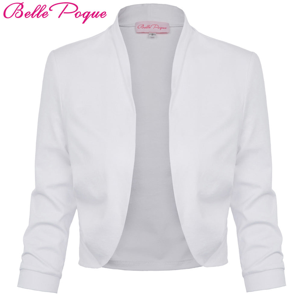 3/4 Sleeve Bolero Shrug White Autumn Short Coat Wedding Bolero Formal Shrugs Slim Fit Short Coat Women Clothing For Spring 2018-lilugal