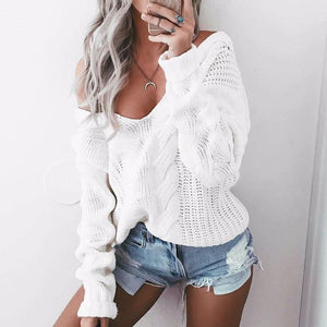 Sexy Women Sweater 2018 Autumn V Neck Long Sleeve Loose Casual Pullovers Sexy One Shoulder White Twisted Knitwear Jumper Sweater-lilugal