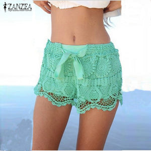 Zanzea Summer Style Shorts 2018 Fashion Women Casual Lace Drawstring Hollow Out Shorts Solid Beach Hot Shorts Plus Size-lilugal