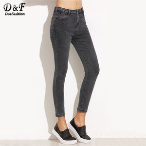 Dotfashion Women Skinny Ankle Trousers 2017 Mid Wais Pocket Button Fly Cropped Pants Female Grey Autumn Jeans-lilugal
