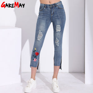 Woman Embroidered Stretch Jeans With Holes Denim Pants Slim Capris Destroyed Embroidery Ripped Jeans For Women Clothing Spring-lilugal