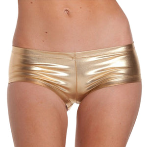 Womens Low Waisted Sexy Metallic Rave Dance Shorts Shiny Dance Gold Red Shorts Sexy Mini Shorts-lilugal