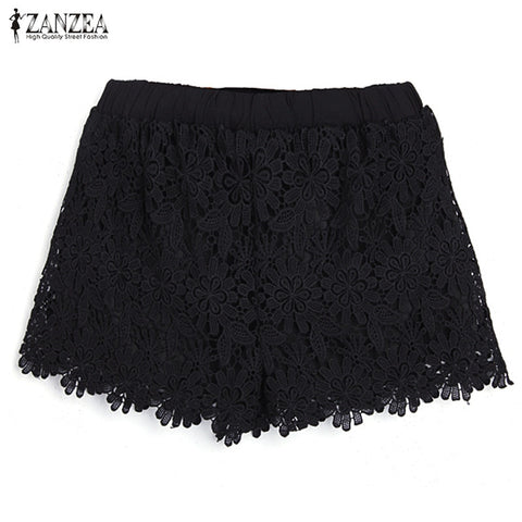 ZANZEA Korean Style 2018 Sexy Womens Summer Casual Sweet Cute Short Pants Plus Size Elastic Waist Lace Shorts Black White-lilugal