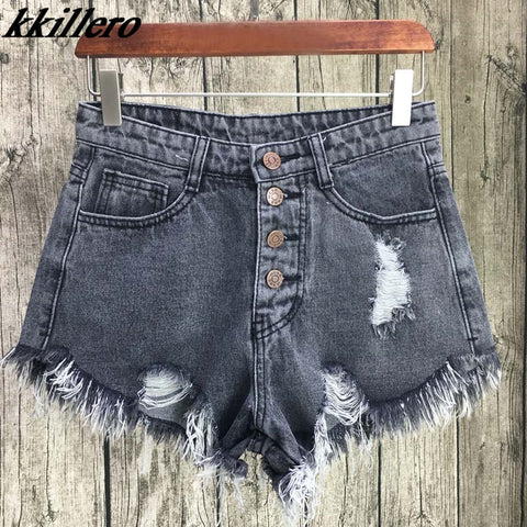 UNIONCODE Vintage ripped hole fringe 6 color denim shorts women Casual pocket jeans shorts 2017 summer girl hot shorts SL086-lilugal