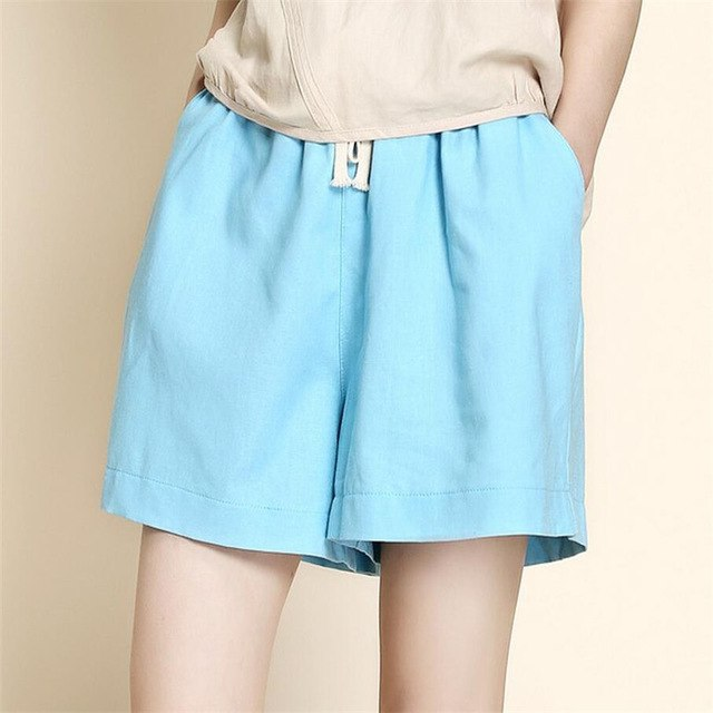 YGYEEG 2018 New Women Summer Shorts Casual Style Linen Cotton Candy Color Mid Loose Elastic Waist Pockets Woman Loose Shorts-lilugal