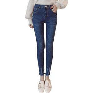 Ripped Bottoms High Waist Woman Jeans Skinny Casual Denim Women Pencil Pants Cool Jeans Slim Student Girls Trousers Dunayskiy-lilugal