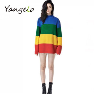 2018 spring autumn loose sweater female rainbow gradient wide stripe full sleeve high collar scalp knitting-lilugal