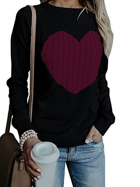 Autumn Winter Women O-neck Knitted Sweaters Heart Cute Long Sleeve Pullover Knitting Sweater Women Casual Patchwork Pullovers-lilugal