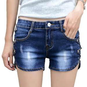 HMCHIME women cotton denim shorts package hip bleached sequined high quality fashion sexy all match slim women short jeans G47-lilugal