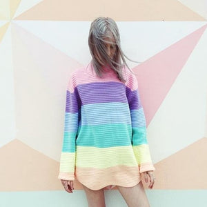 Women Pullover Urtleneck Rainbow Sweater Maccaron Color Stripes Loose Sweater Tumblr Female 2018 Spring Autumn New Fashion-lilugal