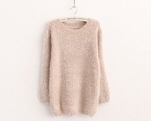 2018 New Fashion Autumn Winter Women Sweater O-Neck Women Pullover Long Sleeve Casual Loose Sweater Knitted Tops-lilugal