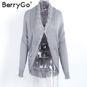 BerryGo Casual winter knitted cardigan sweater Women gray loose sweater cardigan Female autumn white sweater cardigan outerwear-lilugal