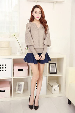 2018 Fashion New Arrival Cashmere Sweater Winter V-Neck Lantern Sleeve Sweater Pullovers Women's Long Sleeve SW326-lilugal