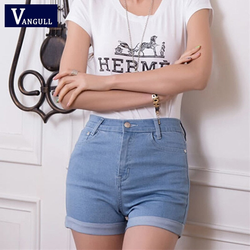 2018 New Fashion women's jeans Summer High Waist Stretch Denim Shorts Slim Korean Casual women Jeans Shorts Hot Plus Size-lilugal