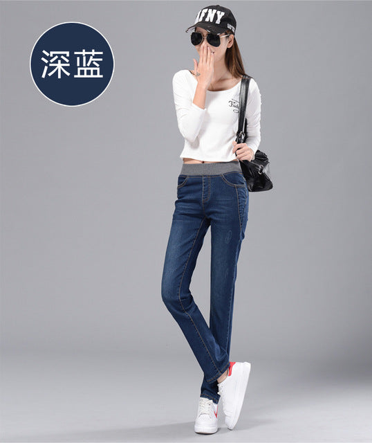 2018 Cotton Medium Mid Boyfriend Jeans For Women New Elastic high waist Waist Jeans for woman Stretch Denim Pants Female-lilugal