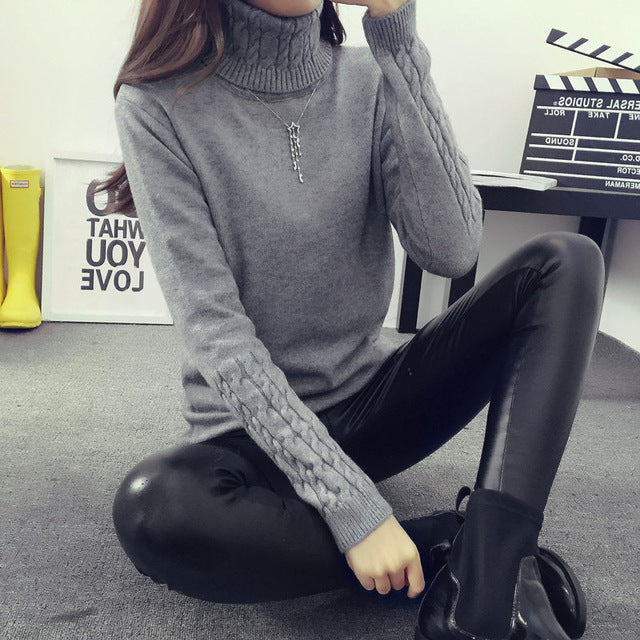 Hot 2018 Spring Autumn Women Sweaters and Pullovers Fashion turtleneck Sweater Women twisted thickening slim pullover sweater-lilugal
