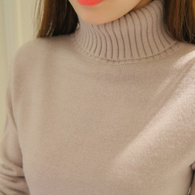 2018 New Autumn winter Women Knitted Sweaters Pullovers Turtleneck Long Sleeve Solid Color Slim Elastic Short Sweater Women K861-lilugal