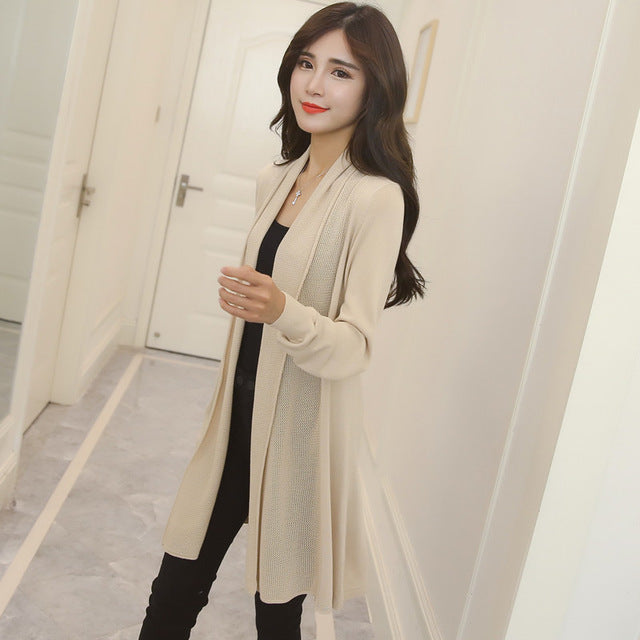 2018 spring summer air conditioning shirt women's medium-long long-sleeve loose sweater female cardigan thin outerwear OH100-lilugal