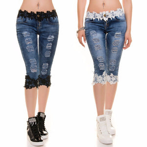 Jeans Lace Stitching Sexy Scratched Denim Low-Waist Jeans Slim Fit Stretchable Skinny Knee-Length Pants Jeans Women Femme-lilugal