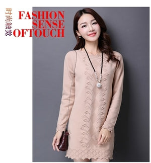 2018 Autumn and winter sweater women's hooded in the long section of Korean women's Slim solid color sweater dress-lilugal
