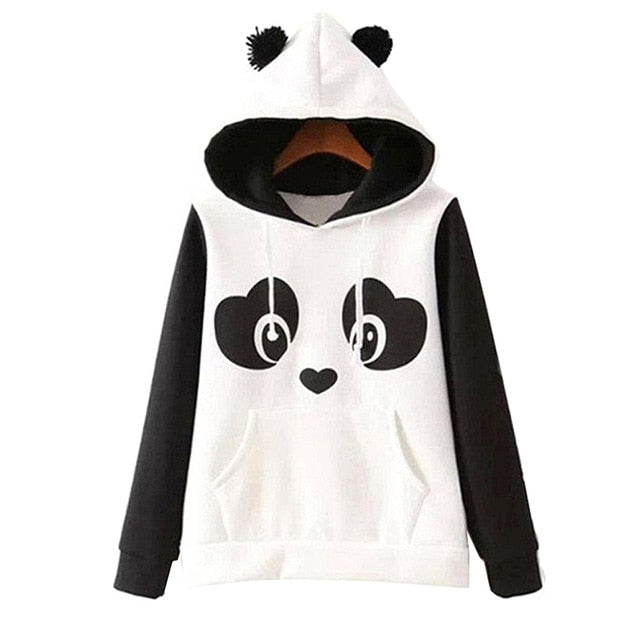 New Fashion High Quality Women's Winter Warm Panda Fleece Pullover Jumper Hooded Sweater Coat Tops F05-lilugal