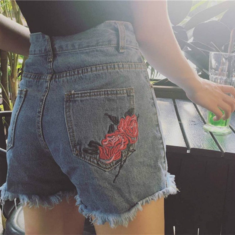 Women Harajuku Loose Shorts Summer 2018 Latest Ripped Retro Rose Embroidery Flowers High Waist Twin Pockets Denim Shorts-lilugal