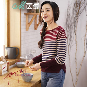 INMAN Women 2018 Autumn NEW All-match Casual O-Neck Striped Pullover Sweater Long Sleeve Autumn Knitting Tops-lilugal