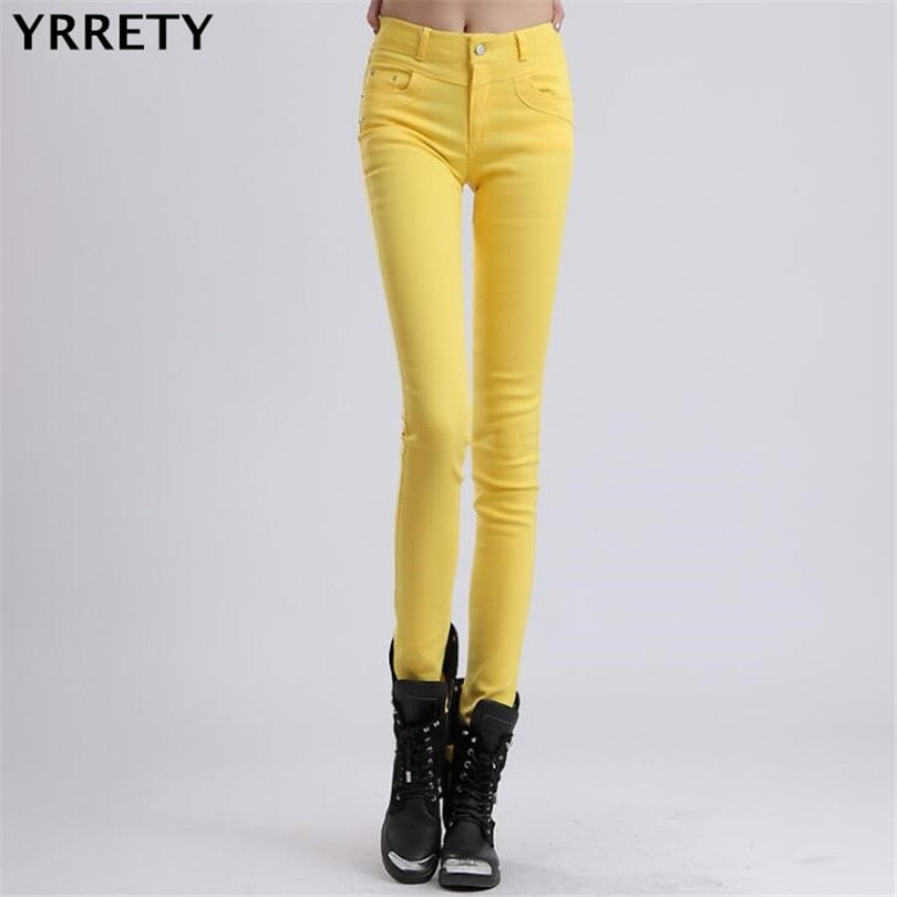 YRRETY Woman Jeans Solid Pencil Women Pants Girls Sweet Candy Color Slim Trousers Femme Pantalon Good Quality Women Leggings-lilugal