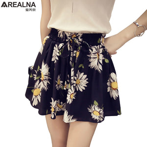 AREALNA 2018 New Summer High Waist Floral Women's Skirt Shorts Fashion Bow Chiffon Female Wide Leg Short Hotpants Plus Size 4XL-lilugal