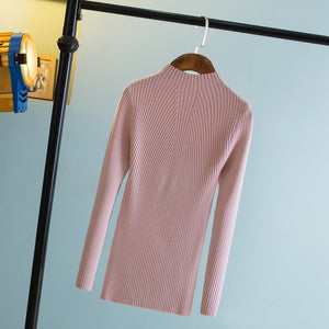 Fashion 2018 Women Autumn Winter Sweaters High Elastic Slim Warm Tight Bottoming Sweater Women Elegant Knitted Pullover SW428-lilugal