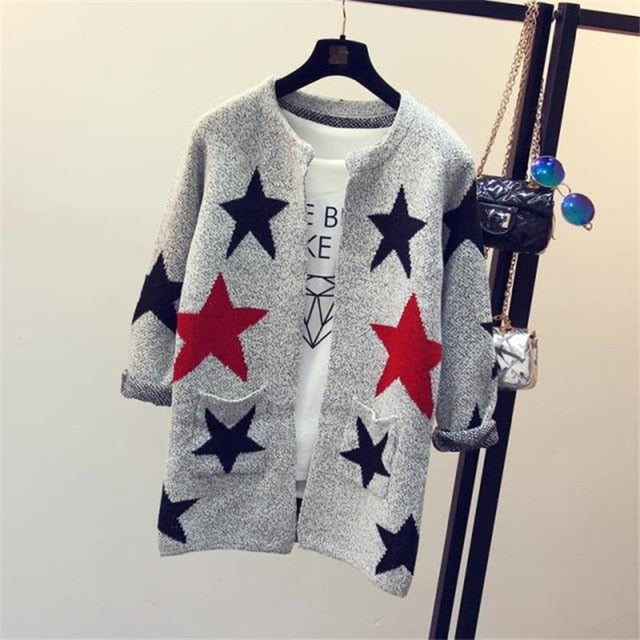 2018 New Fashion Star Pattern Cardigans Female Sweaters Knitted Long Sleeve Slim Women Sweater Cardigan SW153-lilugal