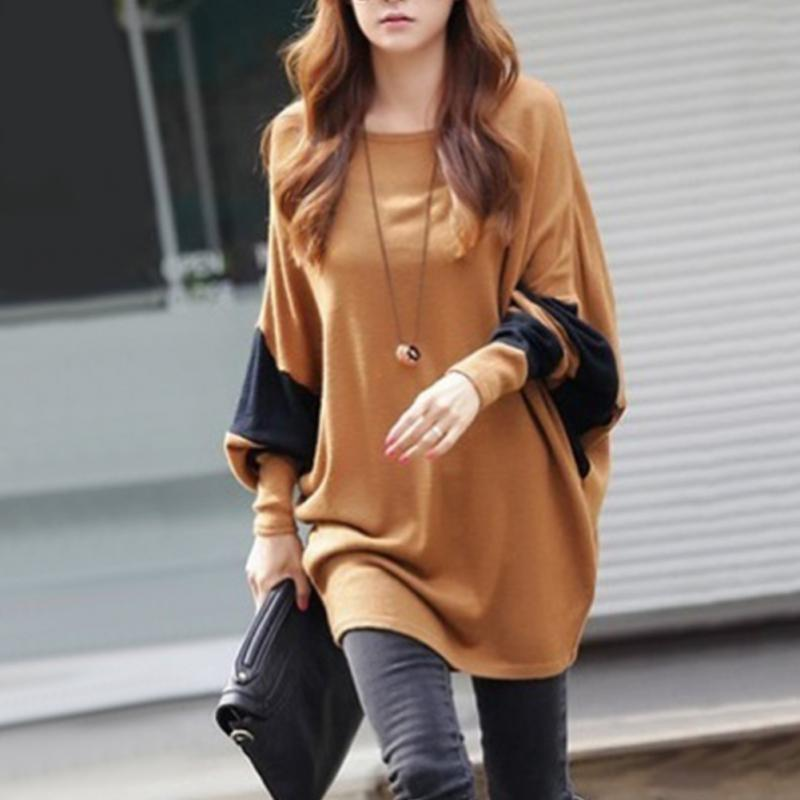 Autumn and winter Women casual long sleeve round neck loose Stitching Tops-lilugal