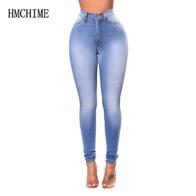 Elastic cotton women jeans zipper fly bleached skinny lady denim pants with pockets stretch cowboy trousers plus size ZB-D049-1-lilugal