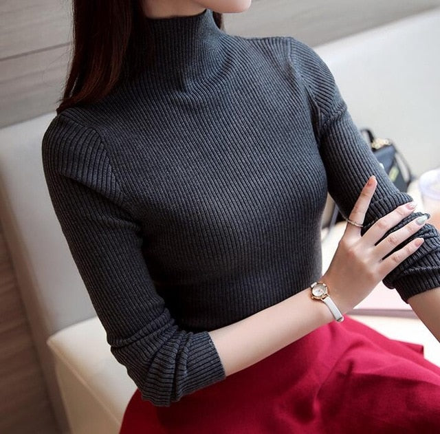 2018 Korean Autumn Winter Knitted Sweaters for Woman Pull Femme Slim Comfortable Turtleneck Long Sleeve Sueter Mujer Chandail-lilugal