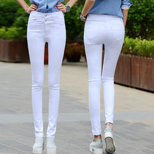 Women white jeans female 2018 new Korean spring and autumn high waist trousers stretch Slim sexy black feet pants pants-lilugal
