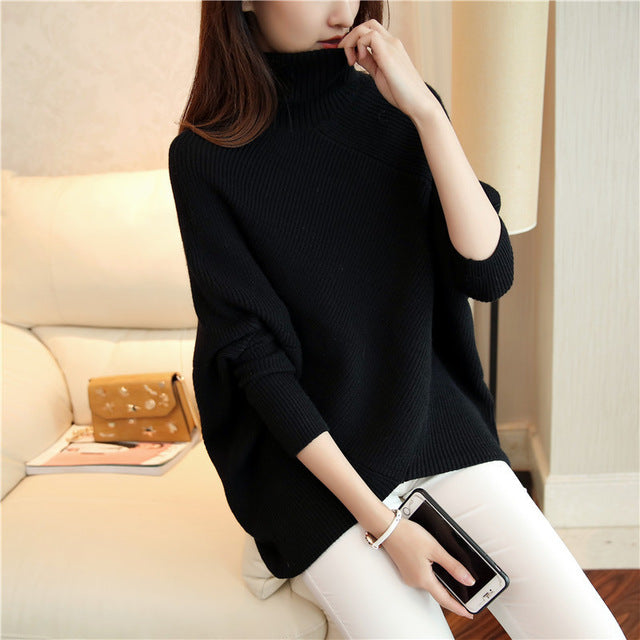 LANMREM 2018 Autumn Fashion New Turtleneck All-match Splice Color Long Sleeve Loose Knit Sweater Women V59001-lilugal