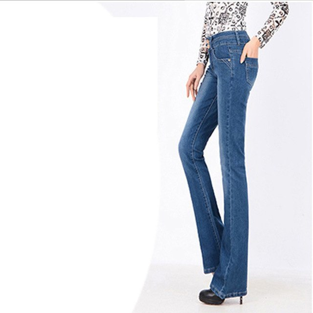 2018 Womens Jeans Flare Pants New Fashion High Waist Black Vintage Denim Long Loose Pant Woman Camisa Feminina Lady Fat Trousers-lilugal