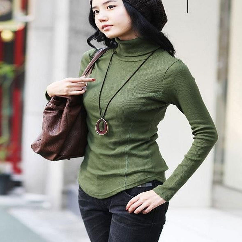 Women Autumn Winter Slim Lady Plus Size Full Sleeve Turtleneck Shirt Female Knitted Hedging Stretch Warm Pullover Sweater-lilugal