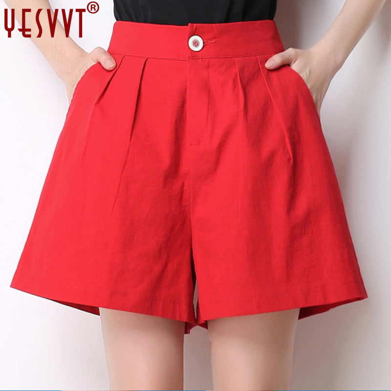 yesvvt 2018 New women summer hot shorts spring Slim A word wide leg shorts Loose Shorts Casual High Waist Shorts Size S-4XL-lilugal