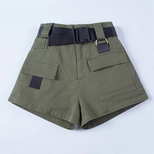 Women High Waist Pockets Shorts with Belt in Khaki & Black & Army green-lilugal