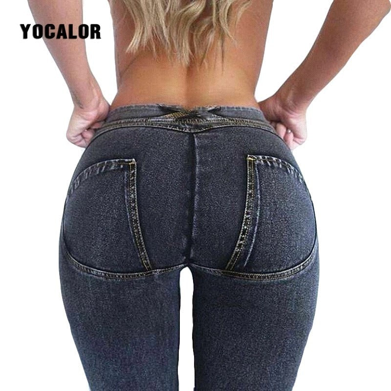 YOCALOR Women Full Hip Skinny Elastic Waist Stretch Jeans Fashion Solid Push Up Blue Sexy Denim Jeans For Female Slim Pants-lilugal