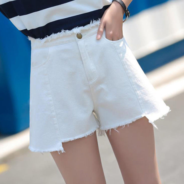 Plus Size White Black Denim Shorts Women Summer Fashion Black Ripped Jeans Shorts Hole Tassel Femme Shorts S-3XL-lilugal