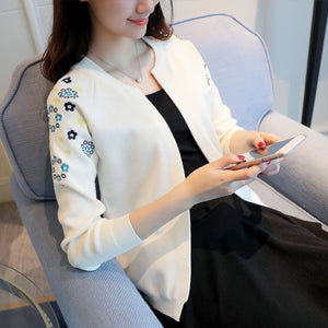 OHCLOTHING Knit a female cardigan The new 2018 autumn fashion short woman with a small shawl embroidered cardigan sweater coat-lilugal