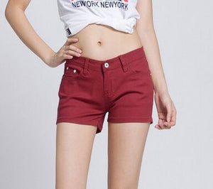 2018 Summer Denim Shorts cotton Slim Fit ladyies elastic waist sexy female Short Jeans for Women-lilugal