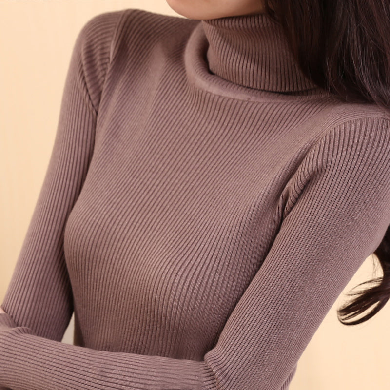 Elastic Sweaters Long-Sleeve Female Pullovers Turtleneck Winter Autumn Women Clothes Jumper Streetwear Knitted Tops Black Red S-lilugal