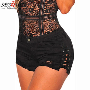 SEBOWEL Plus size Sexy Blue Denim Hot Shorts Women Lace up High Waisted Jeans Shorts 2018 Summer Hot Woman Denim Shorts S-XXL-lilugal