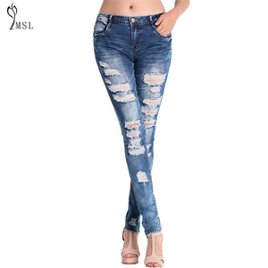 Hole Ripped Jeans For Women High Waist Slim Skiiny Boyfriend Girl Cool Denim Pencil Pants Sexy Trouser Button Casual Blue **-lilugal