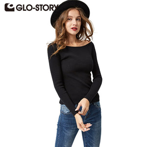 GLO-STORY Women Off Shoulder Sweater Pullovers 2018 Lady Long Sleeve Autumn Winter Sexy Knitted Sweaters Jumper Female Tops 2615-lilugal