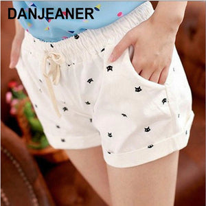 Free shipping 2016 New Summer Shorts With Cats Pattern High Waist Elastic Cotton Short Fresh Floral Women Shorts Feminino A212-lilugal